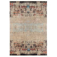 Colaba 108 X 72 inch Brown and Blue Area Rug, Wool and Silk