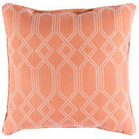 Crissy 16 X 16 inch Orange and White Outdoor Pillow Cover