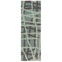 Courtyard 96 X 30 inch Blue and Black Outdoor Runner, Polypropylene