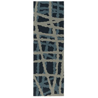 Courtyard 96 X 30 inch Blue and Blue Outdoor Runner, Polypropylene