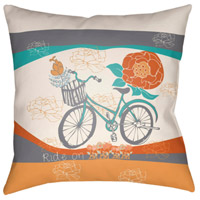 Surya DO006-1818 Doodle 18 X 18 inch Orange and Grey Outdoor Throw Pillow thumb