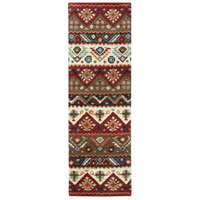 Dream 96 X 30 inch Red and Brown Runner, Wool