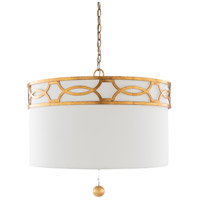 Surya FGE-004 Filligree 3 Light 23 inch White Pendant Ceiling Light