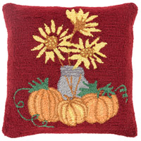 Surya FHI001-1818 Fall Harvest Red and Yellow Holiday Pillow Cover
