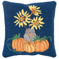 Fall Harvest Navy and Yellow Holiday Throw Pillow