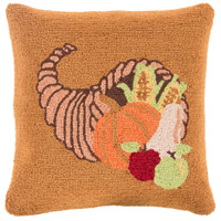 Surya FHI004-1818D Fall Harvest Orange and Brown Holiday Throw Pillow photo thumbnail