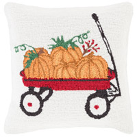 Surya FHI006-1818P Fall Harvest White and Red Holiday Throw Pillow photo thumbnail