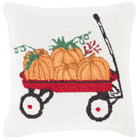 Surya FHI006-1818D Fall Harvest White and Red Holiday Throw Pillow photo thumbnail