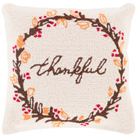 Surya FHI007-1818D Fall Harvest Beige and Brown Holiday Throw Pillow photo thumbnail