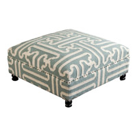 Signature Green and Beige Ottoman, Square, Wood Base, Hand Woven