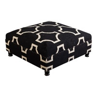 Signature Black and Beige Ottoman, Square, Wood Base, Hand Woven
