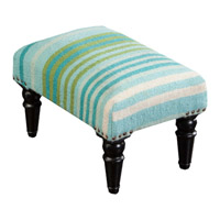 Signature Blue and Green Foot Stool, Rectangle, Wood Base, Hand Woven