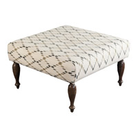 Signature Off-White and Green Ottoman, Square, Wood Base, Hand Woven