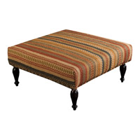 Surya FL1016-808045 Signature Tan and Red Ottoman, Square, Wood Base, Hand Woven