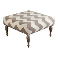 Signature Brown and Off-White Ottoman, Square, Wood Base, Hand Woven