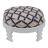 Signature Off-White and Navy Ottoman, Round, Wood Base, Hand Woven