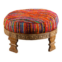 Signature Pink and Yellow Ottoman, Round, Wood Base, Hand Woven