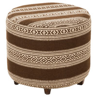 Signature Brown and Off-White Ottoman, Round, Wood Base, Hand Woven