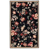Surya FLO8907-58 Flor 96 X 60 inch Black and Red Area Rug, Wool photo thumbnail