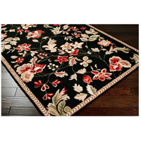 Surya FLO8907-4RD Flor 48 inch Black and Red Area Rug, Wool alternative photo thumbnail