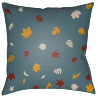 Surya FROND003-2020 Falling Leaves 20 X 20 inch Blue and Yellow Outdoor Throw Pillow alternative photo thumbnail