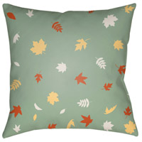 Surya FROND004-2020 Falling Leaves 20 X 20 inch Green and Orange Outdoor Throw Pillow alternative photo thumbnail