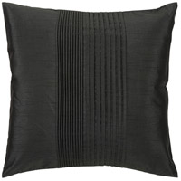Solid Pleated 18 X 18 inch Black Pillow Cover