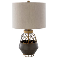 Surya IVS-001 Iverness 100 watt Gray and Brass Table Lamp Portable Light