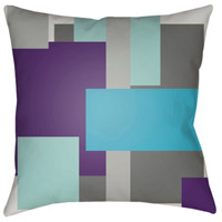Moderne 18 X 18 inch Grey and White Outdoor Throw Pillow