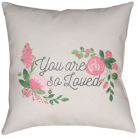 You Are Loved 20 X 20 inch Beige and Pink Outdoor Throw Pillow