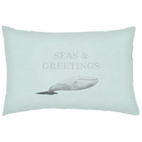 Seas And Greetings Green Outdoor Holiday Throw Pillow