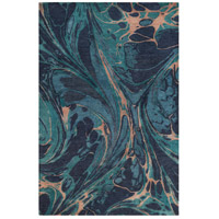 Pisces 120 X 96 inch Blue and Blue Area Rug, Wool and Viscose