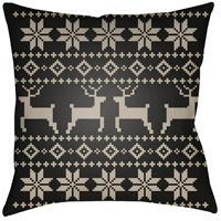 Surya PLAID001-2020 Fair Isle I 20 X 20 inch Black and Beige Outdoor Throw Pillow photo thumbnail