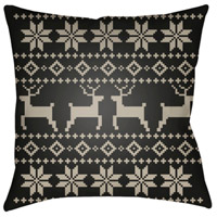 Surya PLAID001-2020 Fair Isle I 20 X 20 inch Black and Beige Outdoor Throw Pillow alternative photo thumbnail