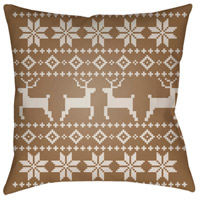 Surya PLAID002-2020 Fair Isle I 20 X 20 inch Tan and Beige Outdoor Throw Pillow alternative photo thumbnail