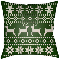 Surya PLAID003-2020 Fair Isle I 20 X 20 inch Green and Beige Outdoor Throw Pillow photo thumbnail