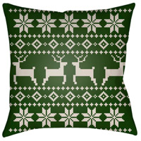 Surya PLAID003-2020 Fair Isle I 20 X 20 inch Green and Beige Outdoor Throw Pillow alternative photo thumbnail