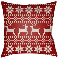 Surya PLAID005-2020 Fair Isle I 20 X 20 inch Red and Beige Outdoor Throw Pillow alternative photo thumbnail