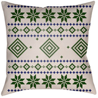 Surya PLAID007-2020 Fair Isle II 20 X 20 inch Green and Neutral Outdoor Throw Pillow photo thumbnail