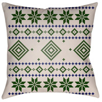Surya PLAID007-2020 Fair Isle II 20 X 20 inch Green and Neutral Outdoor Throw Pillow alternative photo thumbnail