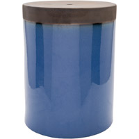 Surya PLS004-121218 Palominas Navy and Brown Stool Home Decor, Cylinder, Hand Crafted