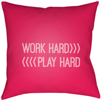Work Play 20 X 20 inch Red and White Outdoor Throw Pillow