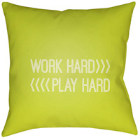 Work Play 20 X 20 inch Green and White Outdoor Throw Pillow