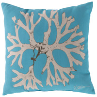 Rain 18 X 18 inch Blue and Beige Outdoor Throw Pillow