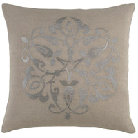 Ravati 20 X 20 inch Grey and Grey Pillow Cover