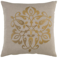 Ravati 20 X 20 inch Gold and Grey Pillow Cover