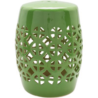 Surya RWY006-131318 Ridgeway Green Stool Home Decor Cylinder Hand Crafted