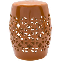 Ridgeway Orange Stool Home Decor, Cylinder, Hand Crafted