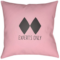 Black Diamond 20 X 20 inch Pink and Black Outdoor Throw Pillow