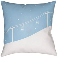 Ski Lift 20 X 20 inch Blue and White Outdoor Throw Pillow
